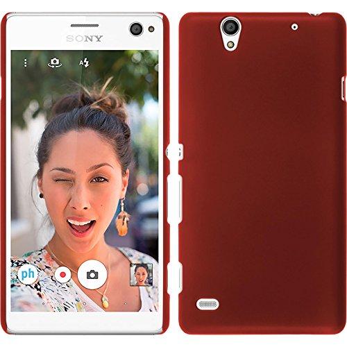 PhoneNatic Case für Sony Xperia C4 / Dual Hülle rot gummiert Hard-case + 2 Schutzfolien