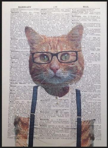Ginger Cat Hipster Impresión Vintage Diccionario Página Arte de la pared imagen Animal, diseño de gato