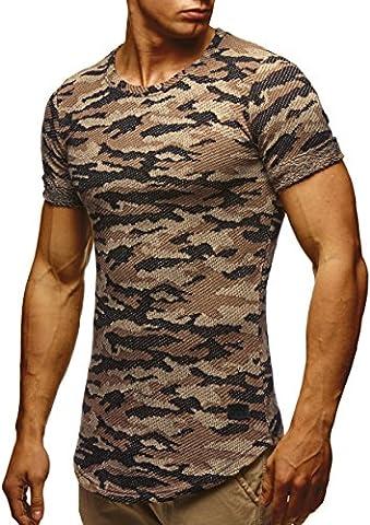 LEIF NELSON Herren T-Shirt Sweatshirt Hoodie Hoody Camouflage Army LN6363; Größe XXL, Camouflage