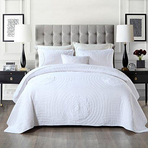Unimall 3 teilige gesteppt Tagesdecke 100% Bio Baumwolle Bettüberwurf Set 230 × 250cm für Doppelbett Natur Muster, Weiß