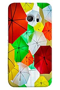 Omnam Colorful Umbrella Pattern Printed Designer Back Cover Case For HTC10
