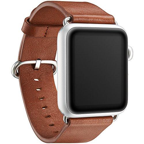 """KAVAJ Echtleder-Armband \""""Barcelona\"""" geeignet für Apple Watch Series 4,3,2 & 1 44 & 42 mm Cognac. Lederarmband aus echtem Leder als ideales Zubehör für Damen und Herren"""