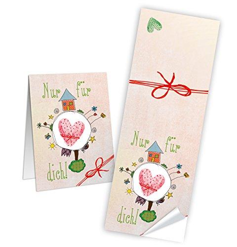 25 Stück Aufkleber Sticker NUR FÜR DICH pastell-farben rosa HERZ rot Geschenkaufkleber Banderole Verpackung Geschenke selbstklebend Etikett zum Papiertüten verschließen zukleben