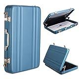Woodmin Luftfahrt-Aluminium Mini-Koffer Geschäft / Kreditkarte / Namenskartenhalter Box, Blau