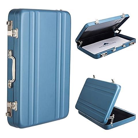 Woodmin Porte-Carte de Crédit Titulaire Carte Rentabilisation Portable Inox Nom Carte Bancaire (Bleu)