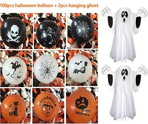 Kungfu mall 2 pezzi di fantasmi halloween appesi decorazioni di oggetti fantasma, 100 pezzi di palloncini di halloween trick treat spaventosi palloncini in lattice da 12 pollici