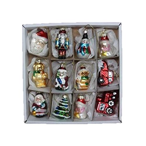 Set of 12 Mini Glass Hanging Christmas Tree Decorations by Gisela Graham