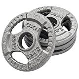 DKN Unisex Tri Grip Cast Iron Olympic Weight Plates, Grey, 2 x 10 kg