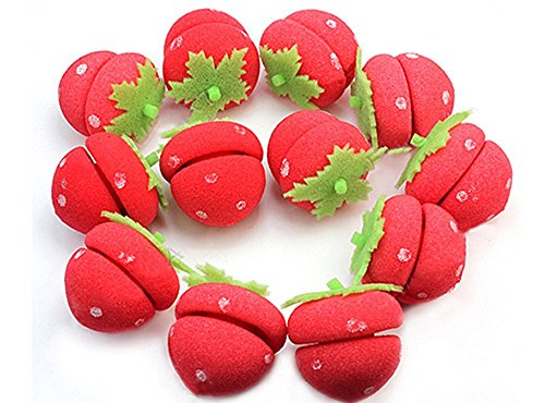 6Pcs Cute Schwamm Erdbeere Hair Styling Lockenwickler Ball