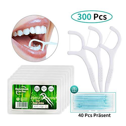 Dental Floss, 300+40 Stück Zahnseide Sticks Zahnstocher Stick, Zahn Draht Zahnpflege Interdental Flossers mit Y-Form Design, Einwegzahnseide Zahnreinigung Sticks von Yuede (6x50+40Pcs)