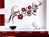 Wandtattoo Ranke Blumenranke Hibiskus Ornament M947 dunkelrot 95cm x 37cm