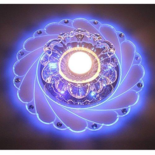 Vier Helle Foyer Lampe (LED Kristall Deckenleuchte Farbwechsel Crystal Decken Pendent Lampen Einbauleuchten Kronleuchter Für Flur Schlafzimmer Arbeitszimmer/Büro Esszimmer Korridore Foyer Wohnzimmer Balkon,WhiteBlue-Srew)