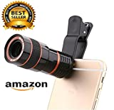 #10: Teconica 8x Zoom Mobile Phone Telescope Clip Lens For Cell Phone Optical Lens Magnifier For All Android And IOS Devices (Black)