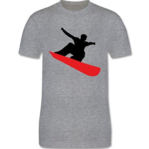 Wintersport - Snowboard schnelle Abfahrt - Herren Premium T-Shirt Grau Meliert