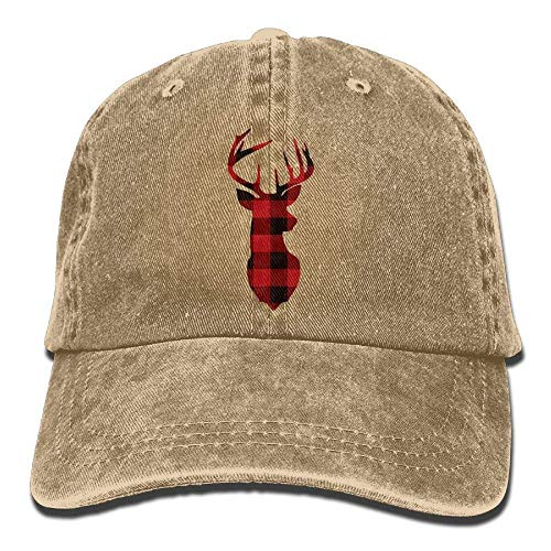ewtretr Red Buffalo Plaid Deer Vintage Washed Dyed Cotton Twill Low Profile Baseball Cap Black Adjustable Unisex Suitable for All Seasons