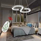 VINGO® LED 36W Kristall Deckenbeleuchtung mit Fernbedienung dimmbar Wand-Deckenleuchte Empfangsbereichen Wohnraum