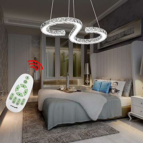 Vingo 36W Cristal Lámpara de techo Salón Negocios lámpara de techo moderno salón Colgante de Luz Regulable