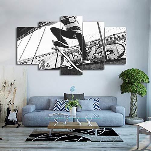 Schwarz Und Weiß Gedruckt (LZLZ 5 Leinwandbilder Leinwand Wandkunst Bilder Wohnzimmer Wohnkultur 5 Stücke Skateboard Extreme Sport Malerei Schwarz Weiß Poster HD Gedruckt)