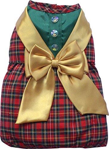Doggy Dolly ST008 Hundekleid Schottenkaro Weihnachtselfe, grün/rot, Größe : XXS