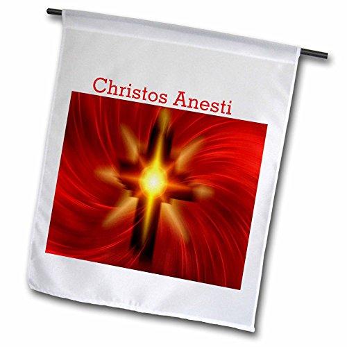 3dRose FL_235442_1 Bild Happy Ostern in Griechisch mit rotem feurigem Kreuz-Gartenflagge, 30,5 x 45,7 cm, Weiß
