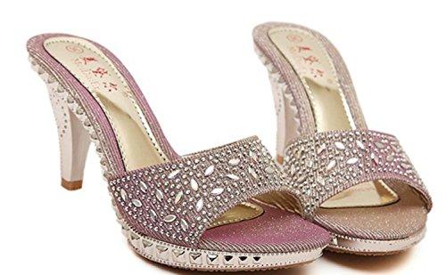 YCMDM Femmes 'SNew Fine Avec Cool Chaussons confortables Ladies Sandales Pink