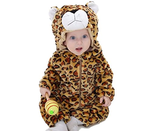 Ducomi® Little Animals - Unisexrock für Baby und kleines Mädchen mit Kapuze - Tier Cosplay Kostüm für Geburtstagsfeiern, Karneval und Halloween (Größe 90 cm - Höhe: 76-85 cm, Leopard)