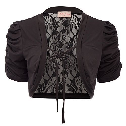 Belle Poque Bolerojacke Damen schwarz Kurzarm Schulterjacke Strick Bolero XL BP705-1