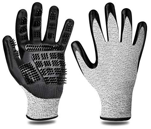 F FLLUFFY Fellpflege-Handschuhe für Katzen Pferde Hunde, 2er-Pack Fellpflege Handschuh - Bürste...