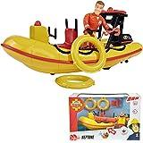 Boot Neptune von Feuerwehrmann Sam, mit Sam Figur und Originalsound, 20 cm || Schlauch Boot Rettungsboot Spielzeug Motorboot Sound