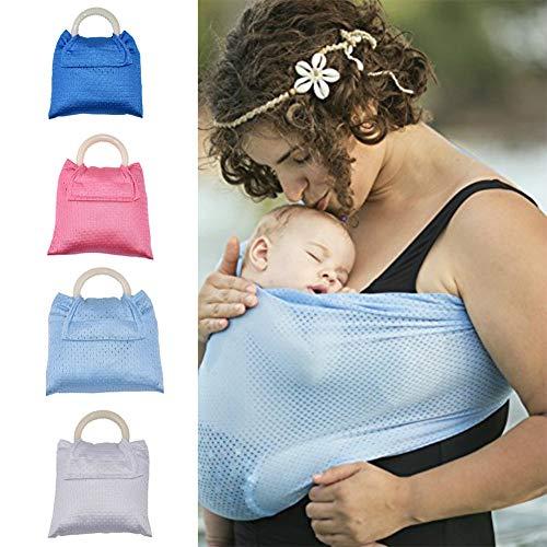 Dyda6 Envoltura para bebé con Doble Anillo, para Piscina, Playa, Jacuzzi, Secado rápido, Malla Transpirable para bebé, portabebés, Regalo para recién Nacidos, Azul Claro, Tamaño Libre