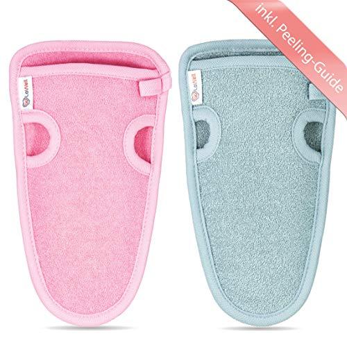 2 Stück - LoWell® - Peelinghandschuh rau inkl. Peeling-Guide + 2 x BONUS Saugnapf - LUXUS für deinen Körper - Wellness Handschuh - Dusch Schwamm Body - Hamam Handschuhe Gesicht (Grau + Pink)