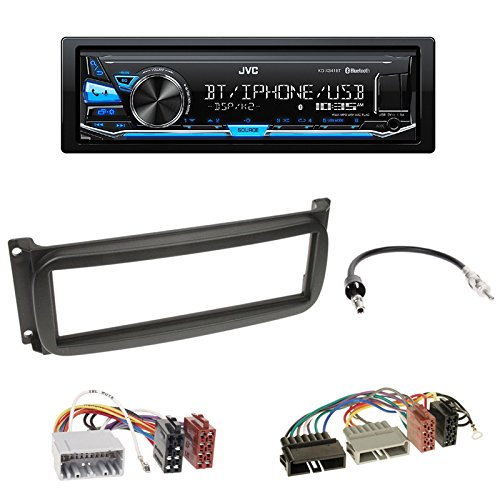 JVC KD-X351BT Radio Bluetooth USB AUX 1-DIN Blende+ISO Adapter für Chrysler Neon (PL) Sebring (DR) 300 M (LR) Wrangler (TJ) (Grand) Cherokee (KJ) PT Cruiser (PT) (Grand) Voyager (RG) Dodge RAM (DR)