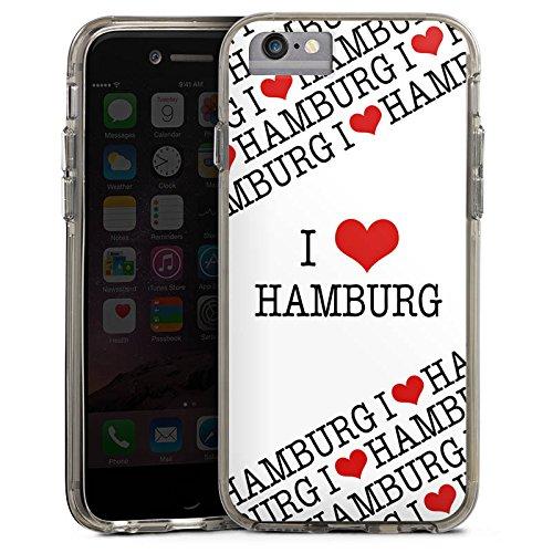 Apple iPhone 8 Bumper Hülle Bumper Case Glitzer Hülle Hamburg Herz Heart Bumper Case transparent grau