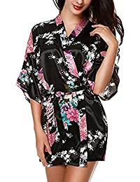 E-darter Paon Cardigan Robe de chambre - Satin Soyeux Peignoir Court Kimono Soie Femme
