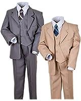 "Kinderanzug ""Ben"" 5-tlg. in grau od. beige - Sakko, Weste, Hose, Hemd u. Krawatte"