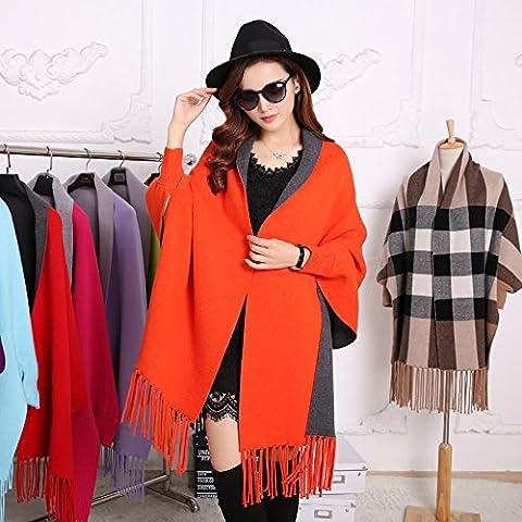 Châle à franges, sable, cardigan long châle à franges double face d'épaisseur pour les filles et femmes cadeaux,orange rouge