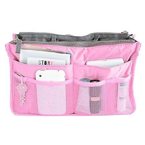 Demarkt bolsa de viaje cosméticos organizador funda Inserto almacenamiento bolso Mujer,Rosa