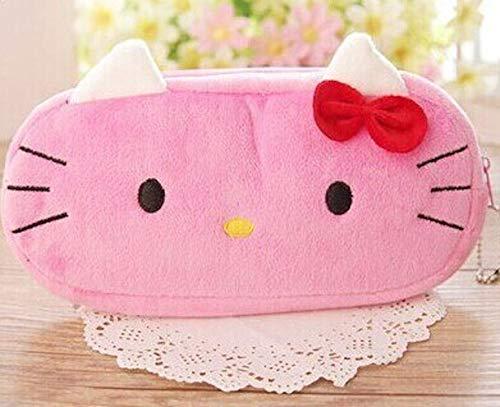 KIDDYBO - Astuccio morbidissimo in peluche per penne / pennarelli / matite / make-up, borsa da viaggio, per bambini Hello kitty fuchsia