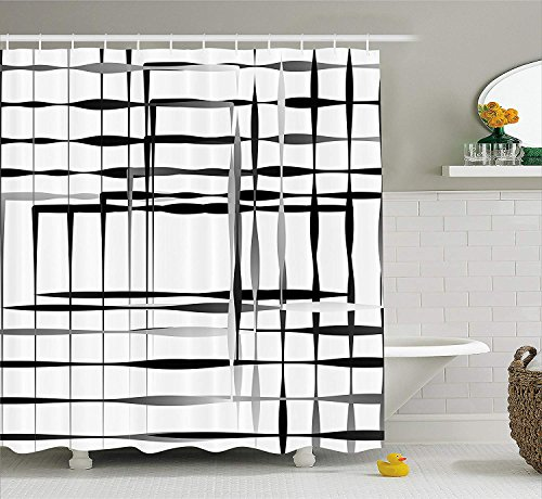 ADAM MARTINEZ JR Modern Art Home Decor Shower Curtain, Minimalist Image with Simplistic Spaces and Spare Asymmetric Grids, Fabric Bathroom Decor Set with Hooks, 75 Inches Long, Black White Adams Grid