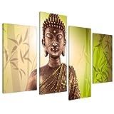 Wallfillers Impression sur Toile - Bouddha Zen et Bambou Vert - 4 Parties Canvas 4100
