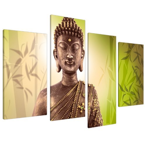 Wallfillers Cuadros en Lienzo Grande Buda verde lima Imágenes 130cm XL 4100