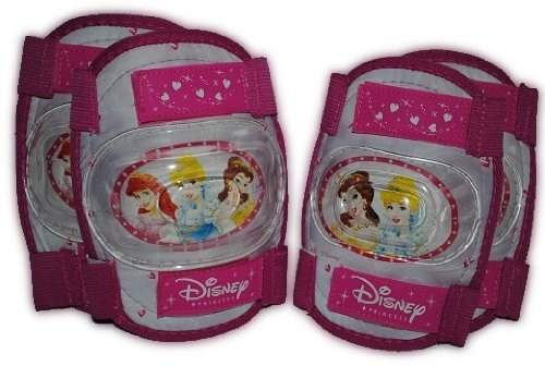 #4 tlg. KINDER SET KNIESCHÜTZER 3 Disney Prinzessinnen – ELLENBOGENSCHÜTZER Knieschoner – Schützer z.B. für Rollschuhe Inline Skates – Mädchen#