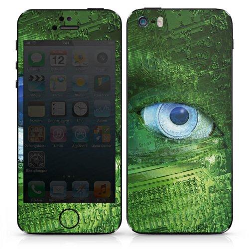 Apple iPhone 4 Case Skin Sticker aus Vinyl-Folie Aufkleber Auge Technik Platine DesignSkins® glänzend