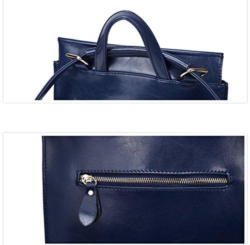 Yan Show Damen Neu Leder Schulter Taschen Rucksack Handtaschen Schwarz