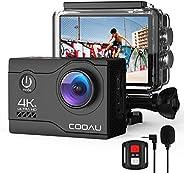 COOAU Cámara Deportiva 4K WiFi 20MP Camara Acción Sumergible Agua de 40M con Control Remoto y Micrófono Extern