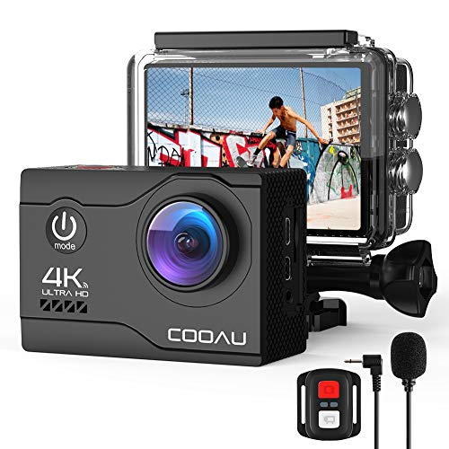 COOAU 4K Camara Deportiva 20MP WiFi Sumergible hasta