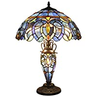 Tiffany Style Lamp Stained Glass Night Light Base 3 Light Blue Purple Clouldy Lampshade W16 H22 Inch Antique Bookcase Beside Desk Reading Lighting for Living Room Bedroom S558 WERFACTORY
