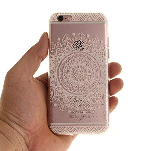 """Apple iPhone 6 4.7"""" hülle,MCHSHOP Ultra Slim Skin Gel TPU hülle weiche Silicone Silikon Schutzhülle Case für Apple iPhone 6 4.7"""" - 1 Kostenlose Stylus (Halbe weiße Blüten) Weiße Mandala Blume"""