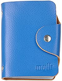 Soft Real Premium Leather Wallets Credit Card Holder ID Business Case Purse Unisex Men Women (Blue), [Importado de UK]