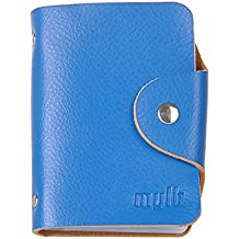 Soft Real Premium Leather Wallets Credit Card Holder ID Business Case Purse Unisex Men Women (Blue), [Importado de UK]